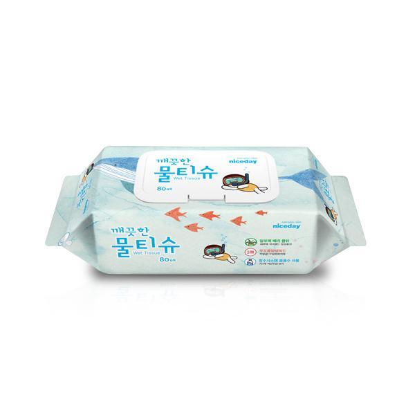 ⓢ나이스데이 깨끗한 물티슈(80매/프리미엄/캡형)